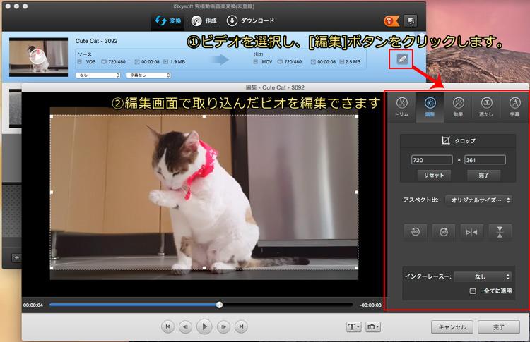 DVDを編集してから、MPEGに変換する